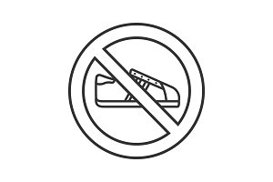 Forbidden sign with sneaker linear icon