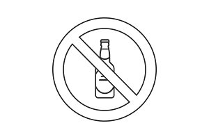 Forbidden sign with beer bottle linear icon