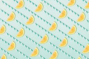 Lemon juice texture on blue
