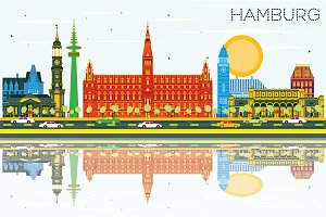 Hamburg Skyline with Color Buildings