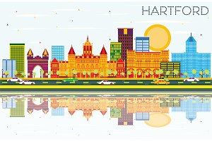 Hartford Skyline with Color Building