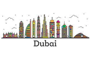 Outline Dubai UAE City Skyline