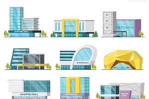 Shopping Mall Buildings Set
