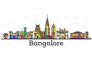 Outline Bangalore India City Skyline