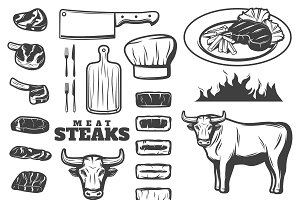 Vintage Steak Icon Set