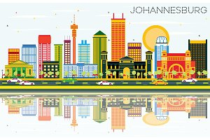 Johannesburg Skyline with Color