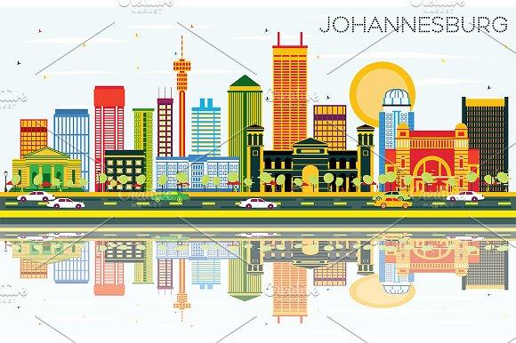 Johannesburg Skyline With Color