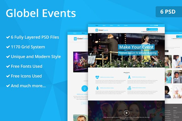 Globel Events PSD Website Template