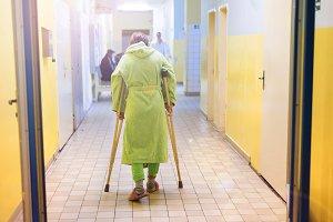 Woman in hospital.