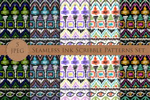 SCRIBBLE ink seamless folk patterns