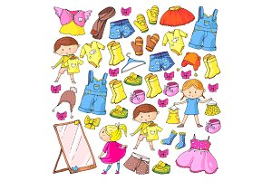 Children clothing Kindergarten boys and girls with clothes New clothing collection Dresses, trousers, shoes, hats, caps, gloves, scarf. Princess dresses