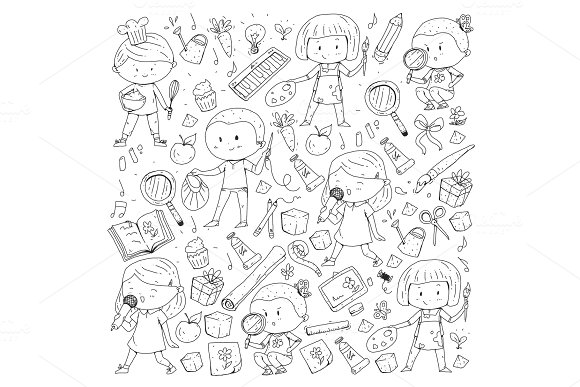 Children School And Kindergarten Creativity And Education Music Exploration Science Imagination Play And Study Cooking Singing Reading Different Hobby And Lessons Vector Illustration