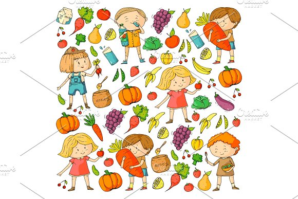 Children School And Kindergarten Healthy Food And Drinks Kids Cafe Fruits And Vegetables Boys And Girls Eat Healthy Food And Snacks Vector Doodle Preschool Pattern With Cartoons Kids Drawing