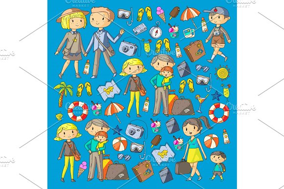 Family With Children Travel Mother Father Sister Brother Boys And Girls Kindergarten Preschool Children School Kids Adventure Exploration And Family Vacation Or Holidays Beach Diving
