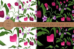 VEGETABLES seamless patterns set