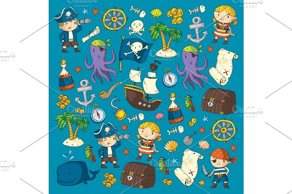 Pirate Adventures Pirate Party Kindergarten Pirate Party For Children Adventure Treasure Pirates Octopus Whale Ship Kids Drawing Vector Pattern For Banners Leaflets Brochure Invitations