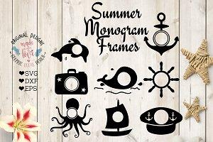 Summer Monogram FramesCut Files