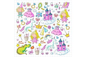 Cute princess Icons set with unicorn, dragon Girl wallpaper Baby shower Invitation Kindergarten, preschool, nursery, birthday, school party