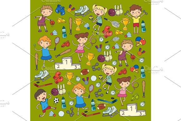 Boys And Girls Playing Sports Illustration Fitness Football Soccer Yoga Tennis Basketball Hockey Volleyball