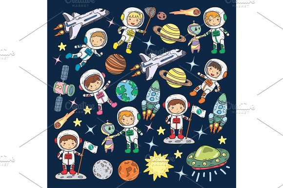 Space Kindergarten School Astronomy Lesson Children Doodle Kids Illustration Ufo Alien Moon Surface Earth Jupiter Saturn Mars Vector Icons