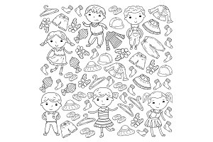 Set of Children clothing. Vector icons. Kindergarten. Nursery. Atelier. School clothing. Summer clothing. Kids store pattern