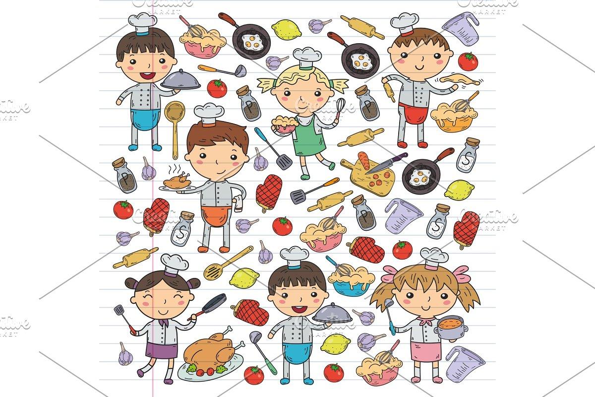 Cute Kids Chef On White Background Children Cooking Kitchen Children