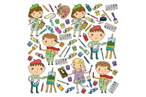 Children creativity Kindergarten, school art Boys and girls drawing and painting pictures Children art and design school