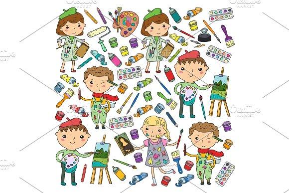 Children Creativity Kindergarten School Art Boys And Girls Drawing And Painting Pictures Children Art And Design School