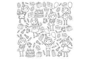 Happy birthday vector design Birthday hat Party and celebration. Kindergarten children, school kids party. Vector illustration.