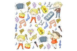 Vector school of music Musical theatre Kindergarten children with music instruments Drum, flute, accordion, trumpet, piano Music perfomance and school age kids Children orchestra