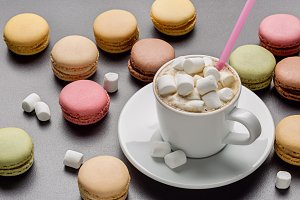 Macaroons, coffee with marshmallow.