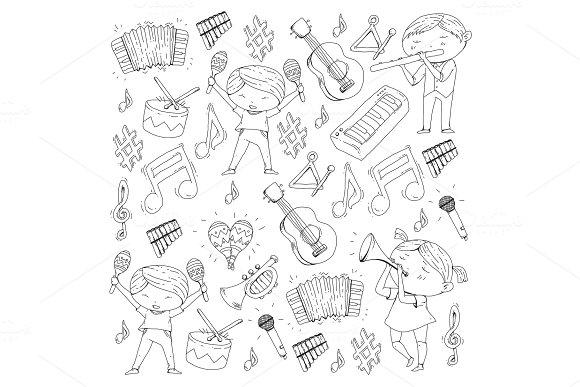 Vector School Of Music Musical Theatre Kindergarten Children With Music Instruments Drum Flute Accordion Trumpet Piano Music Perfomance And School Age Kids Children Orchestra