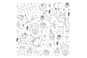 Birthday party Kindergarten children Kids drawing Party invitation with boys and girls, sweets and balloons, gifts and presents