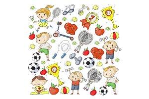 Children sport. Kids drawing. Kindergarten, school, college, preschool. Soccer, football, tennis, running, boxing, rugby, yoga, swimming