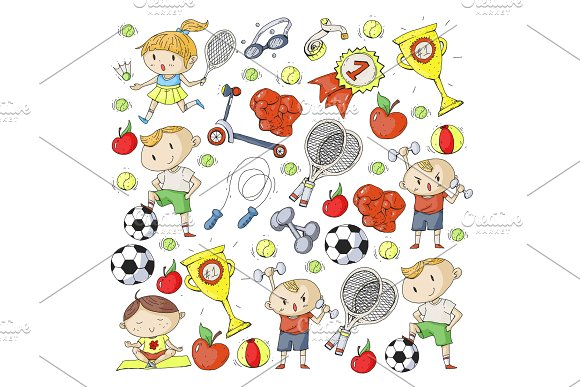 Children Sport Kids Drawing Kindergarten School College Preschool Soccer Football Tennis Running Boxing Rugby Yoga Swimming
