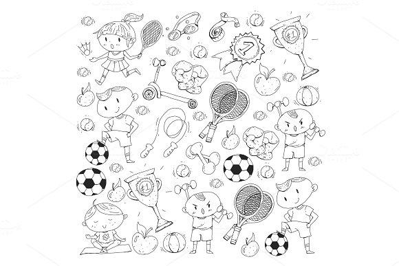 Children Sport Kids Drawing Kindergarten School College Preschool Soccer Football Tennis Running Boxing Rugby Yoga Swimming