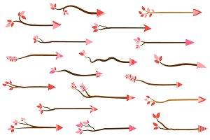 Cute tree branch arrow clipart set