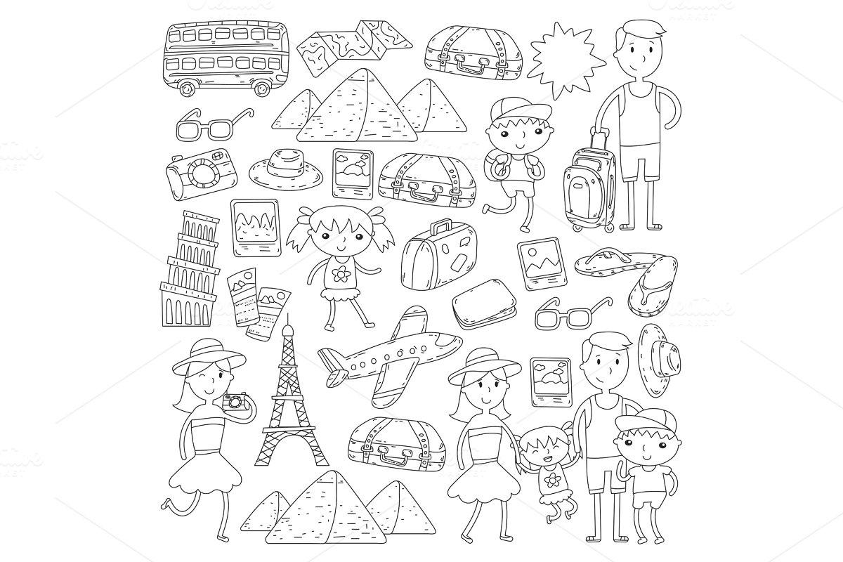 8d4e93510d4d Doodle vector set Travel