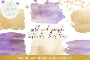 Watercolor & Confetti Clipart Set