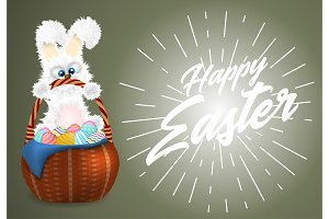 Happy Easter greeting card with white fluffy bunny with wicker basket with decorated and painted easter eggs.