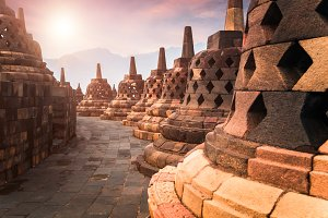 Borobudur Buddhist temple. Indonesia