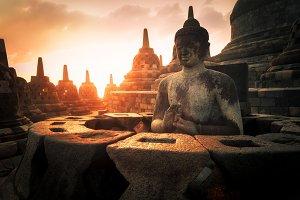 Meditating Buddha statue. Borobudur