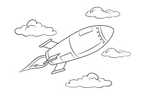 Rocket missile flying coloring book vector