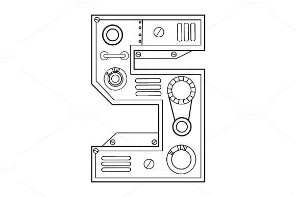 Mechanical Number 5 Engraving Vector Illustration