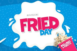 Fried Day Font Family (4 Font Set)