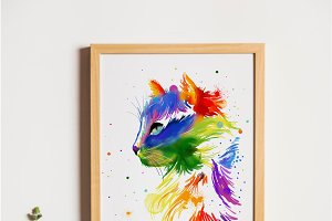 Watercolor rainbow cat
