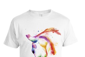 Watercolor rainbow horse