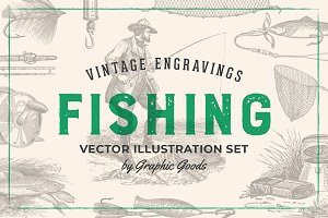 Fishing - Vintage Illustration Set