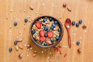 Granola bowl with fresh berries