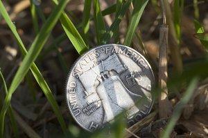 money on grass